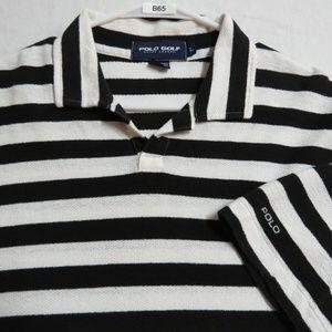 Sz L Striped Polo Ralph Lauren Men Linen #B65 Polo
